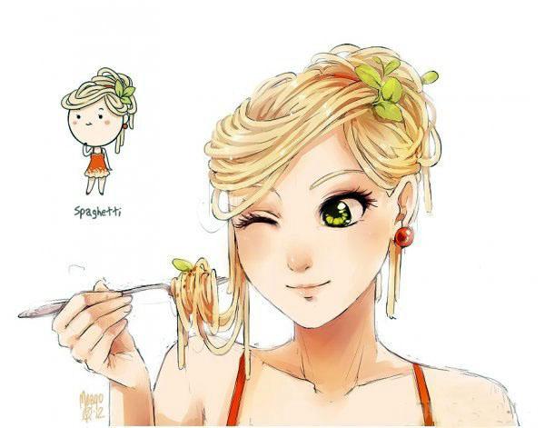 Если бы еда была девушкой. прикольные рисунки