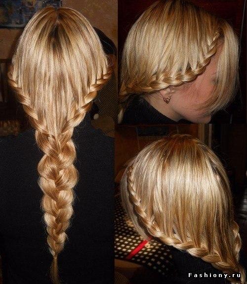 Картинки косы на средних волосах схема плетения - c27
