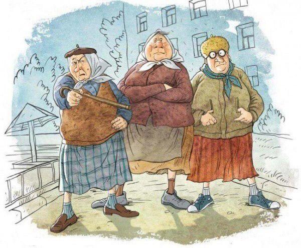 Забавные бабушки и дедушки в работах