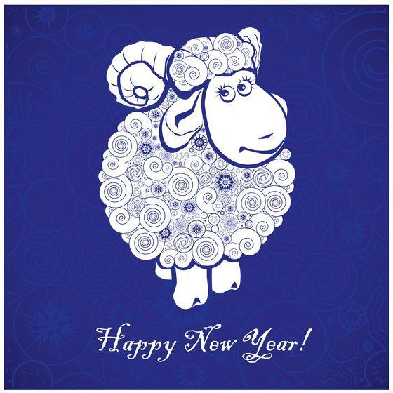 Красивая открыточка к новому году овцы
