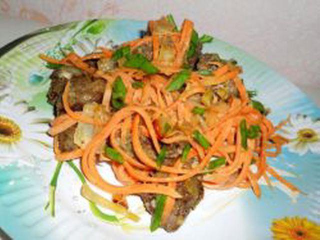 Салат из куриной печени лука и моркови