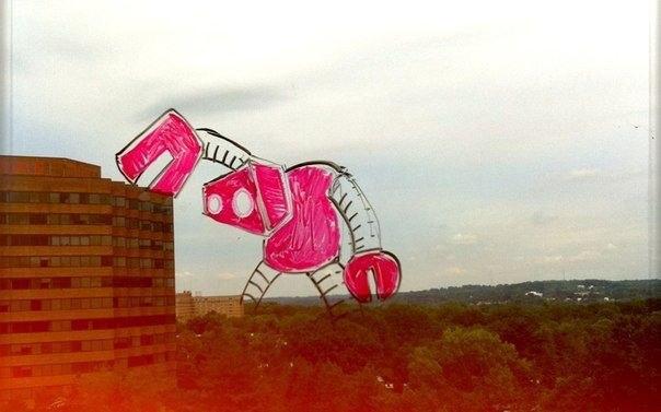 Смешные рисунки на окнах от Гаррета Миллера