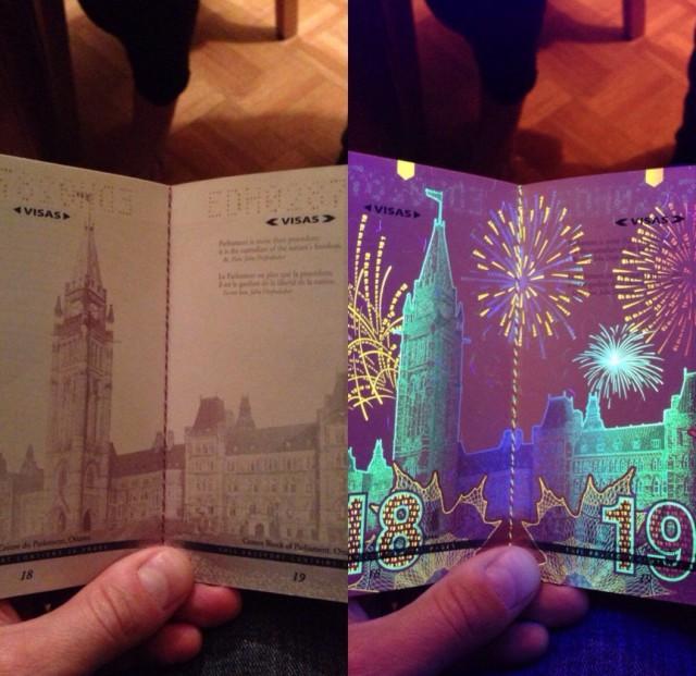 Новый канадский паспорт при ультрафиолетовом свете