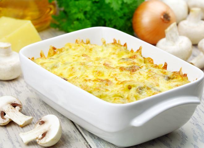 Постные блюда рецепты, Картофельная запеканка с грибами