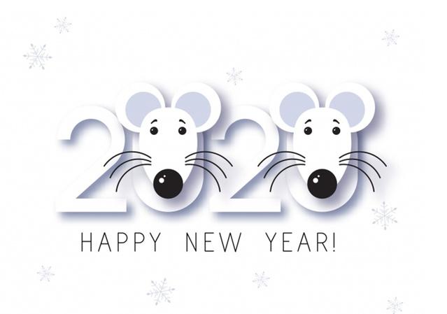Мимимишная открытка на Новый год крысы 2020