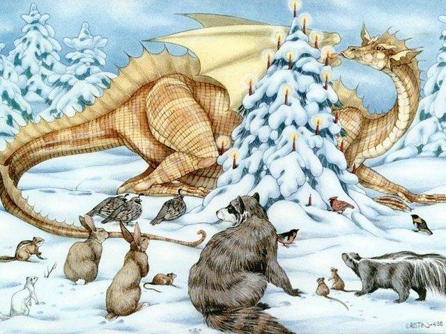 Виде, открытка с новым годом дракон