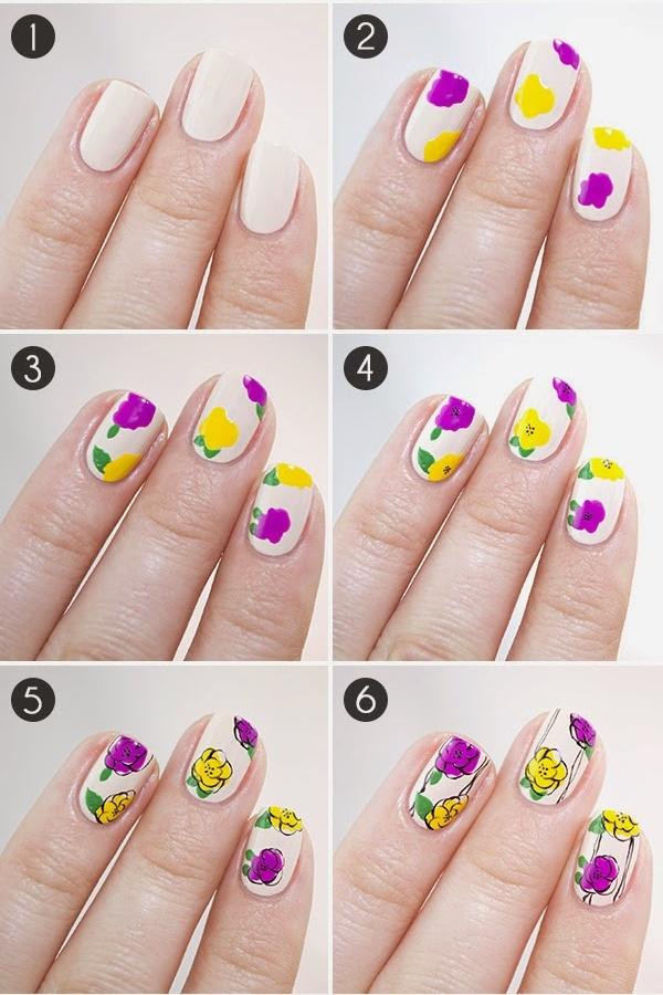Как нарисовать цветы на ногтях?