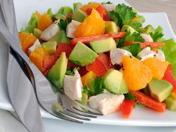 Салат с курицей, овощи, курица, масло