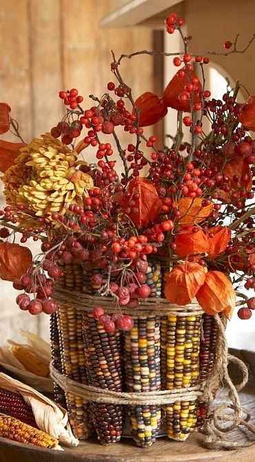 Осенняя композиция из кукурузы