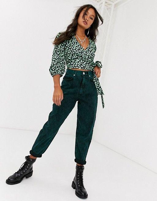 Зелёные джинсы на осень 2020