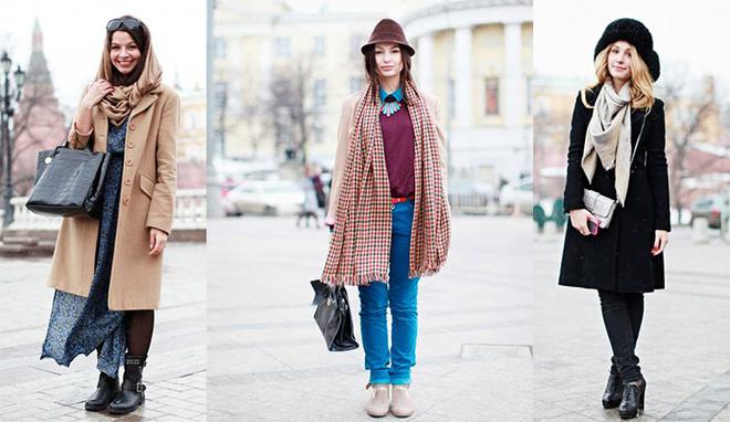 Как носить объемный шарф: street-style примеры