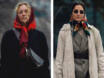 Модные зимние образы с платком на голову