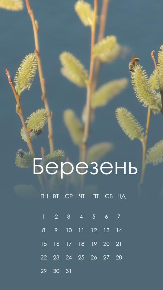 заставка на телефон з календарем березень 2021
