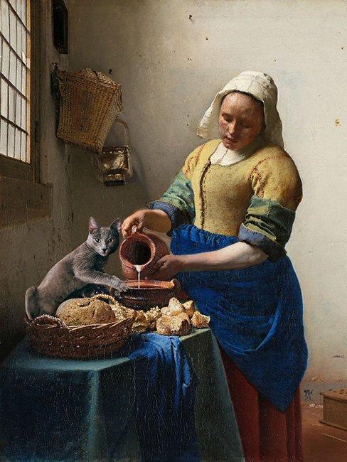 Классические шедевры с котиком от Эдуарда Курста