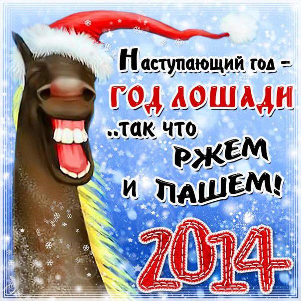 Ржачные открытки на Новый год лошади 2014