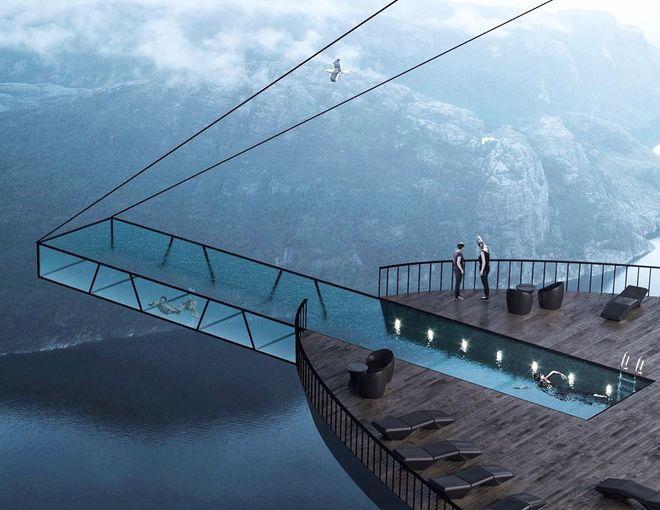 готель у скалі Норвегія