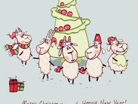 Веселая открытка с Новым годом овцы 2015