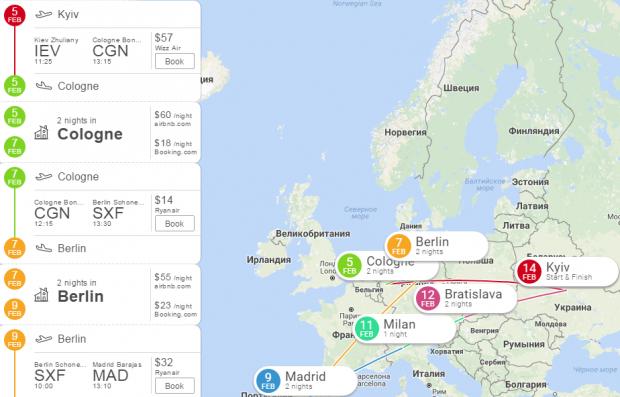Eightydays.me: бесплатный сервис для планирования путешествий в несколько кликов