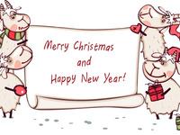 Счастливого Рождества и Новый год овцы 2015