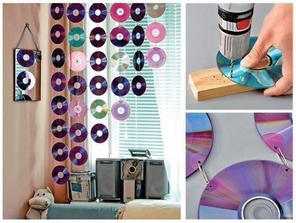 Креативная шторка из дисков