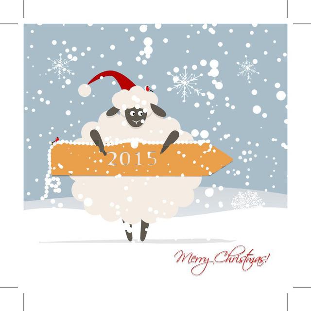 Овечья в снегу на Рождество 2015