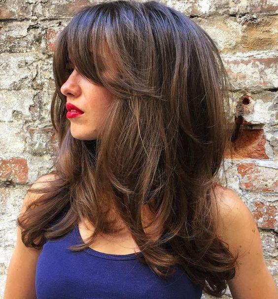 Фото стрижек на длинные волосы с отрастающей челкой