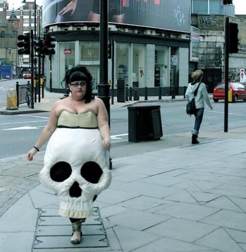 Pretty woman walking down the street))))