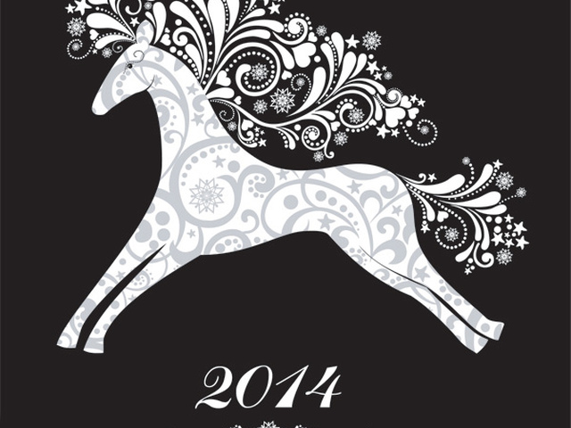 Смешные, 2014 год. год лошади открытки