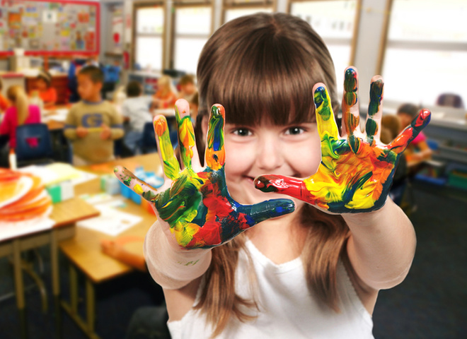 День учителя, дети, урок рисования