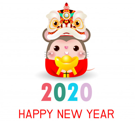 Милая открытка на Новый год крысы 2020