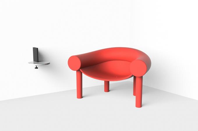 Красный стул и мультяшное кресло