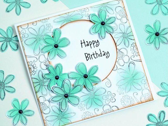 Простая но красивая открытка на день рождения 603