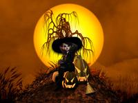 Ведьминская открытка с Хэллоуином