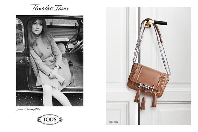 Твіггі і Джин Шрімптон в рекламі TOD'S