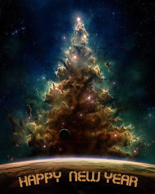 Космическая открытка с Новым годом 2015
