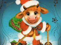 Прикольные открытки на Новые год быка 2021