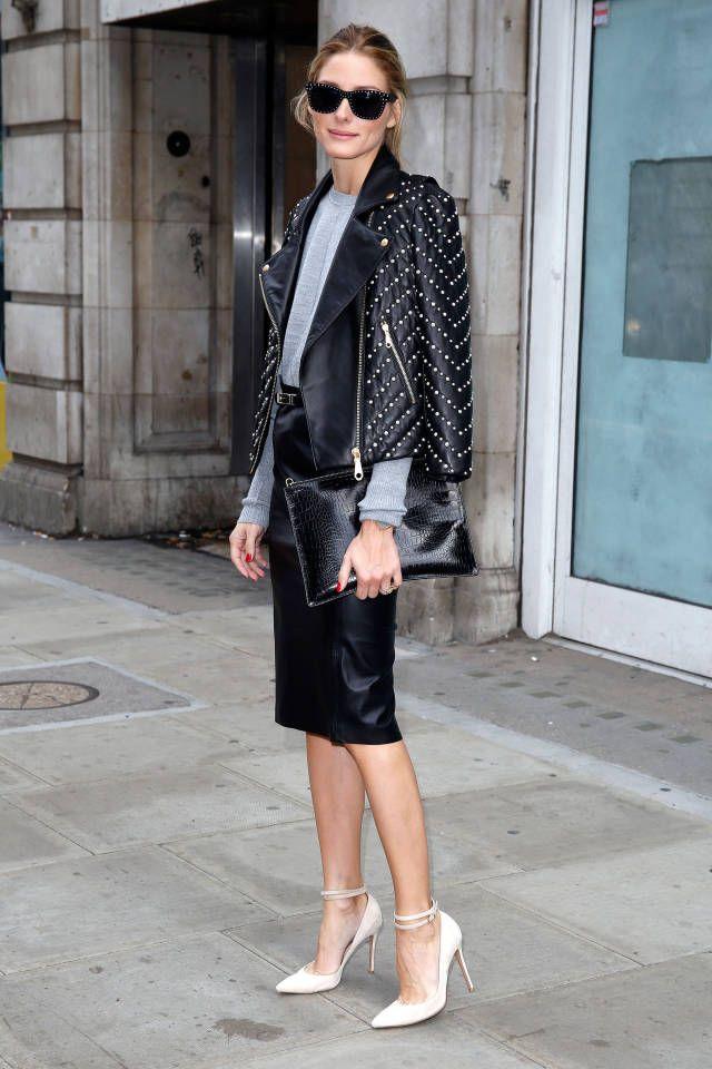 C чем носить кожаную куртку: 5 луков Оливия Палермо