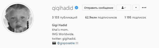 Instagram Джіджі Хадід