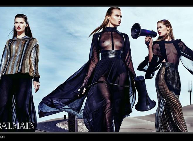 Даутцен Крус, Наташа Поли и другие модели в рекламной кампании Balmain
