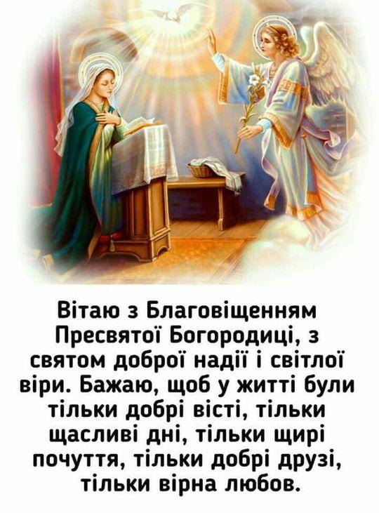 Привітання з Благовіщенням в картинках - tochka.net