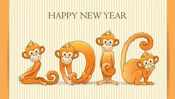 Открытки с Новым годом обезьяны 2016