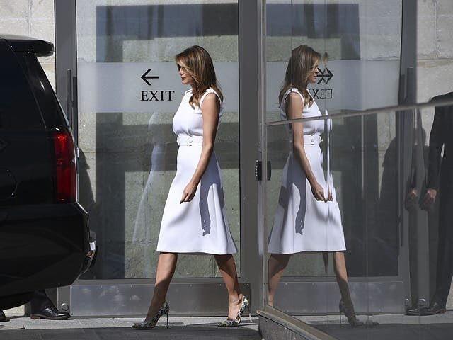 Мелания Трамп в платье Prada