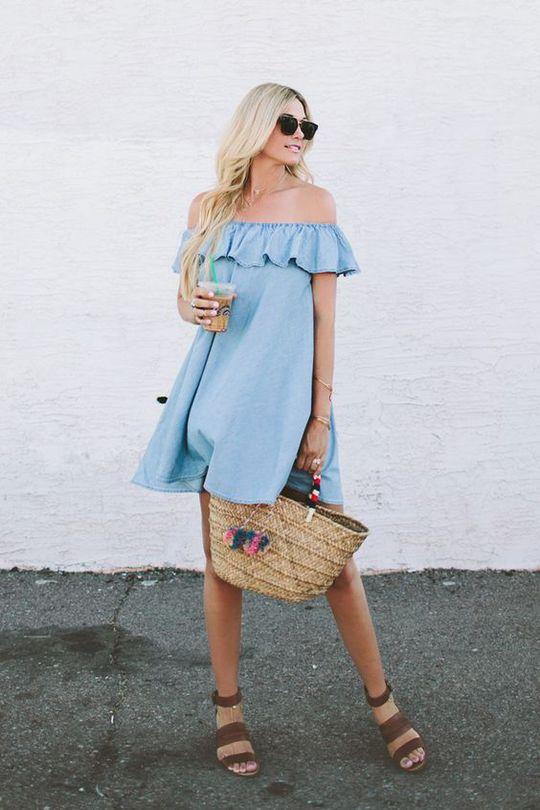 Модні сукні весни 2016: відкриті плечі (street style)
