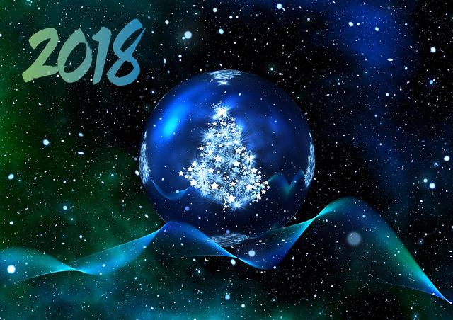 Космические открытки на Новый Год 2018