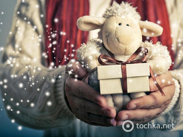 Волшебная открытка на Новый год овцы 2015