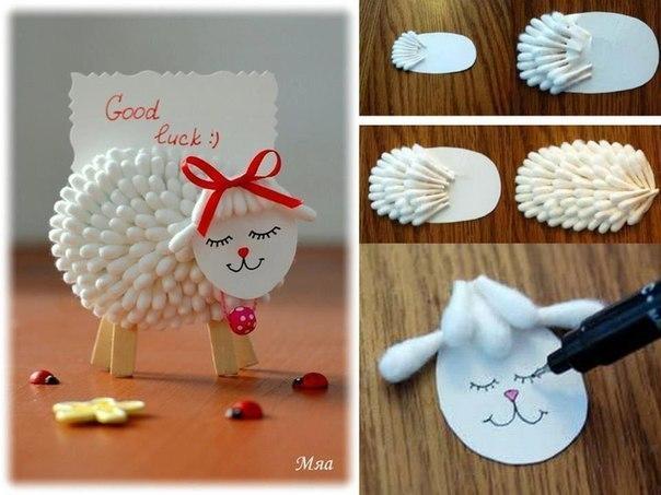 Милая овечка из ватных палочек