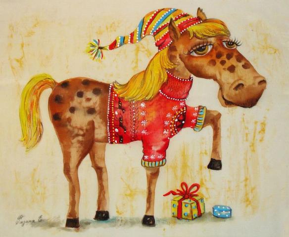Открытки на Новый год лошади 2014