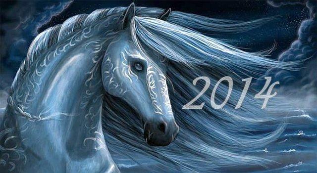 Красивая открытка на год синей лошади