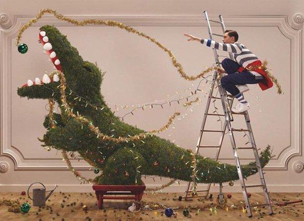 Домашний крокодил и Рождество в рекламной кампании Lacoste