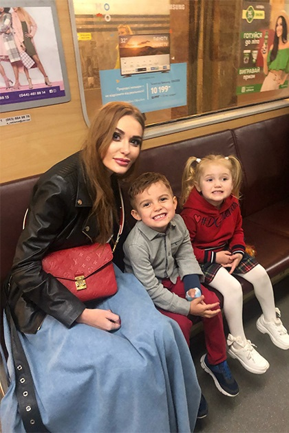 Слава Каминская с сыном Леонардом и дочерью Лаурой